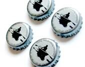 Beer Magnets, Bottle Cap Magnets, Rising Tide Brewing Bottle Cap Magnets, Bar Magnets, 4 Beer Bottle Magnets,  Portland Maine Beer Magnets