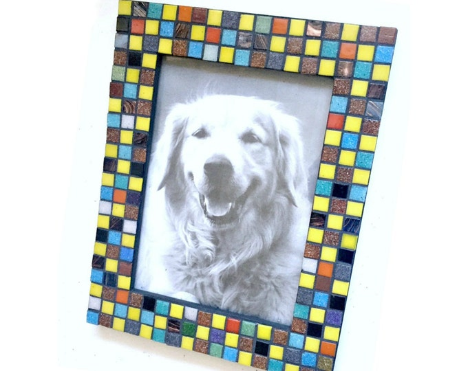 Confetti Mosaic Tile Frame, 5 x 7 Photo Frame, Multi Colored Mosaic Frame, Glass Tile Mosaic Frame, Mosaic Squares Frame, Geometric Frame