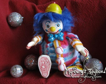 Clown! Three Strikes the Baseball Player Clown! Handmade One of a Kind Art Doll - Roly Poly Cute Clown Friend! OOAK!