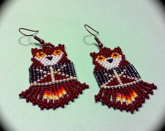 Night Time in the Village Native American Patterns Handwoven Long Dangle Seed Bead Earrings Fashion Earrings Boho Southwestern native ethnic