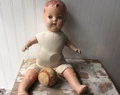 Shabby vintage doll composition and cloth baby doll mama doll 18 inch sweet creepy doll B1