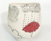 Rain and Red Polka Dot Umbrella Yunomi Cup