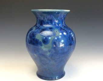 Royal Blue Crystalline Glazed Vase