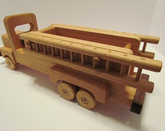 Wooden Fire truck  Handmade toys red  Oak  Heirloom Quality Beautifully hand finished with all natural beeswax  personalize