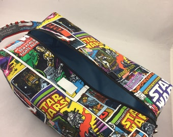 Knitting Project Box Bag - Boxy Toilet Pouch - Makeup or Cosmetic Organizer - Travel Toiletry Bag -  in Star Wars Comic