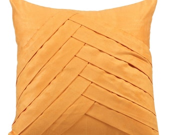 Mustard Yellow Throw Pillows for Bed 16x16 Pillow Covers Suede Pleated Throw Pillows Covers - Mustard No Limits No Lines