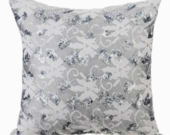 Grey Silver Couch Cushion Covers 16 x 16 Pillow Covers Silk & Lace Embroidered with Sequins Decorative Pillows - Diamond Girl