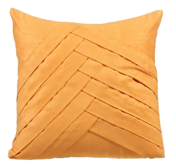 Yellow Decorative Pillows For Bed : Mustard Yellow Throw Pillows for Bed 16x16 Pillow Covers Suede