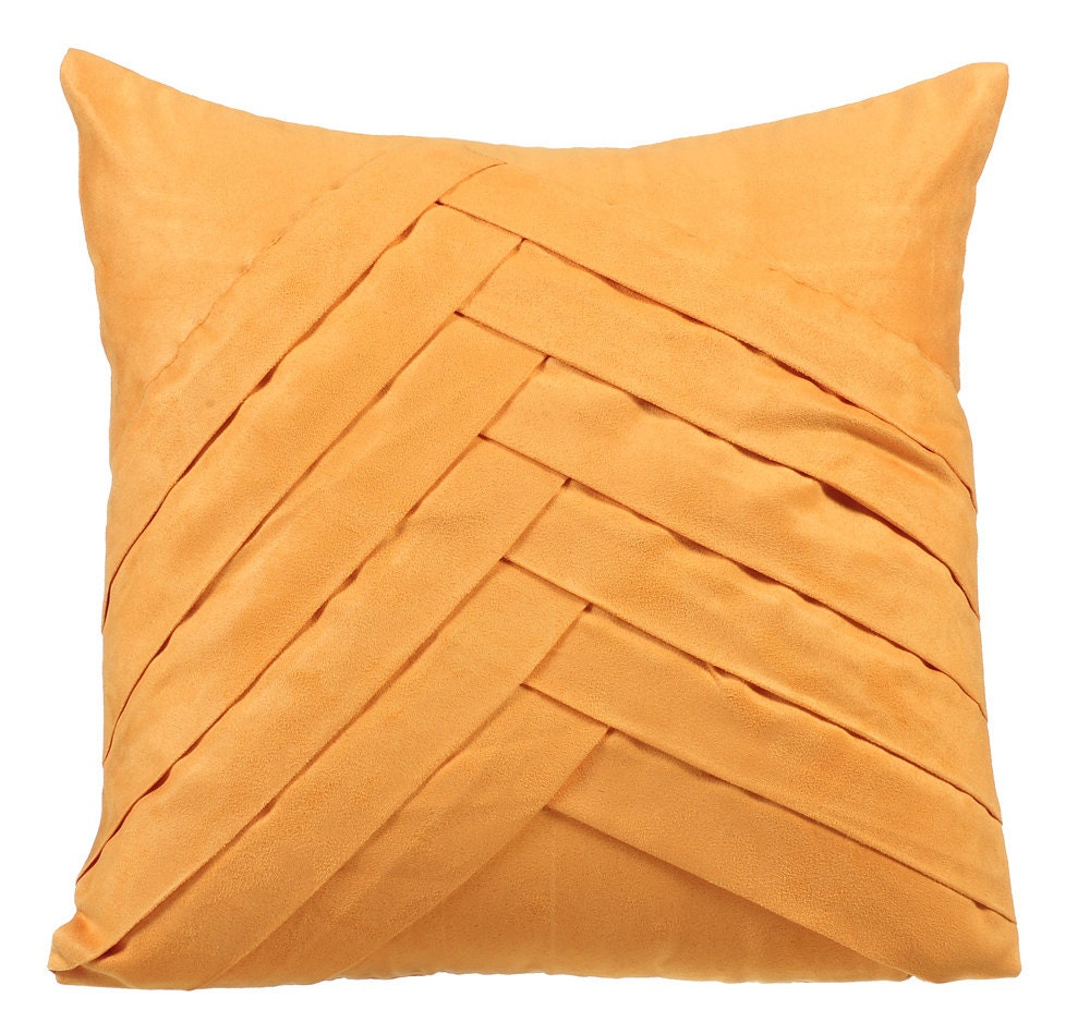 Mustard Yellow Throw Pillows for Bed 16x16 Pillow Covers Suede