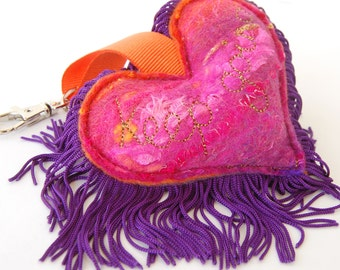 Keep Going - Orange, Pink and Purple Love Heart Keychain - A special handmade felt keyring or bag charm with purple fringe. Affirmation