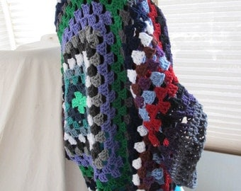 OOAK Large Granny Square Cocoon Shrug, Cocoon Shrug, Granny Stitch Shrug, Crochet Shrug, Crochet Granny Square Shrug, Womens Shrug