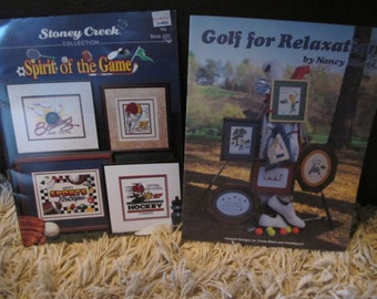 Set of 2 Sports Theme Cross Stitch Books