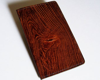 Wood Grain Checkbook Cover - Top-Grain Leather with Woodgrain Design