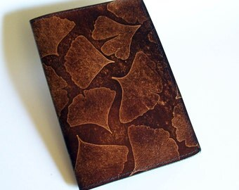 "Leather Journal Cover - Moleskine Notebook Cover - Fits 5"" x 8.25"" Cahiers - Ginkgo With Leaf Pattern"