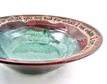 Pottery serving bowl with love quote, wedding gift, 9th Anniversary gift - In stock PRKWB-1003(A)