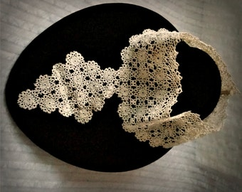 Antique Tatted Lace Collar Jabot, tiny medallions tatting, handmade high neck dress trim, OOAK Victorian accessory