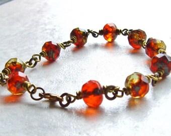 Czech Glass Bracelet Brass Link Amber