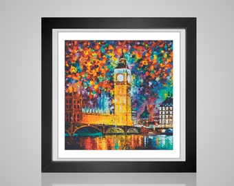 Big Ben fireworks Impressionistic painting Crossstitch Pattern Impressionism  chart - Downloadable PDF cross stitch file - Instant Download