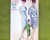1960s Mad Men Era Dress and Jacket Pattern Vogue 6143 Vintage Vogue Sewing Pattern / Size 14 Bust 34