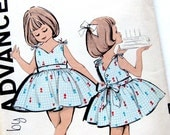 Girls' Party Dress Pattern / Button-Back Dress with Full Skirt / 1960 UNCUT Vintage Sewing Pattern / Advance 9802 / Size 4 or Size 6