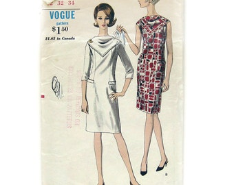 60s MOD Slim Dress Pattern / VOGUE 6693 / Dress with Bias Scarf Yoke Neckline / Vintage Sewing Pattern