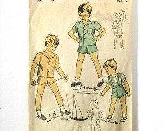 Boy's Suit Pattern / RARE Toddler Suspender Shorts and Top / 1940s Vintage Sewing Pattern - DuBarry 5829 / Size 2T