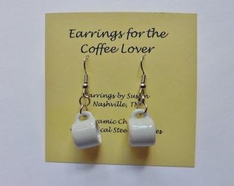 Coffee Cup Earrings mug miniature ceramic white mugs