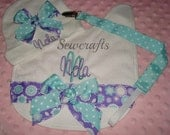 Nola Personalized Cap Bib and Universal Paci Clip - with your choice of name and/or up to 3 initials