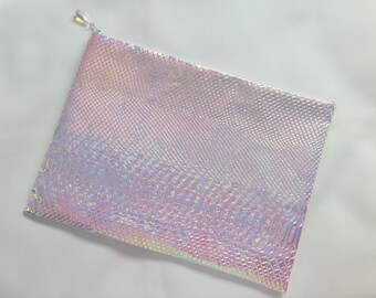 MERMAID LARGE size iridescent hologram clutch zippered pouch