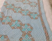 "Primitive Star Cutter Quilt Piece Blues Hand Stitched Craft Supplies 31"" x 46"""
