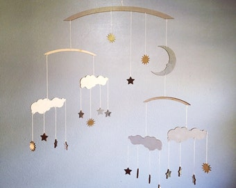 Twinkle, Twinkle Little Star Mobile - Cloud Mobile with Celestial Moon & Stars - Baby Mobile - Nursery Decor - Nuage Mobile
