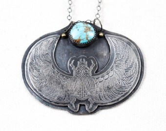 Scarab Acid Etched Lone Mountain Turquoise 18k gold granulation sterling silver pendant necklace handmade one of a kind oak large statement