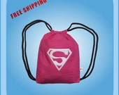 Superwoman Drawstring Backpack Kids Tote