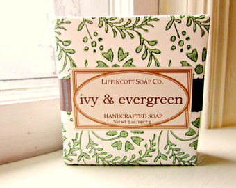 Ivy & Evergreen Soap, Cold Process Soap, Handmade Soap, Bar Soap, Cedar, Fir, Ivy, Holly, Phthalate Free