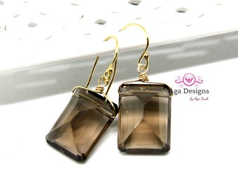 Smoky Quartz Earrings - gold filled wire - smoky quartz gold earrings