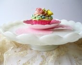 Vintage Milk Glass Footed Cake Stand - Weddings Bridal