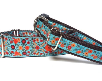 "1.5"" martingale dog collar or 1"" tag / buckle collar BLOOM teal and orange floral, Safety Collar, Greyhound Collar, Adjustable"