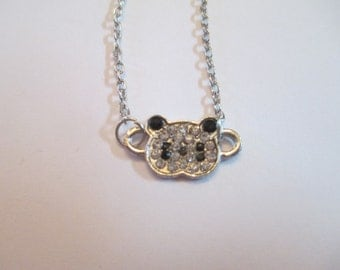 Rhinestone Panda Necklace Womens Jewelry