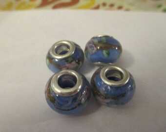 4 Blue Flower Glass Euro Beads Craft Supplies