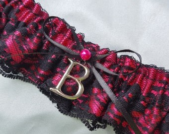 Black Lace Fuchsia Pink Bridal Garter Personalized Elegant Pearl Accent Wedding Garter