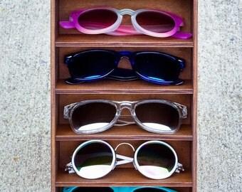 6ct Sunglasses Display Case Storage Holder Organizer Shelving Shelf 3D Glasses  Rack Wood - HANDMADE In Texas (FREE Shipping to U.S.A)