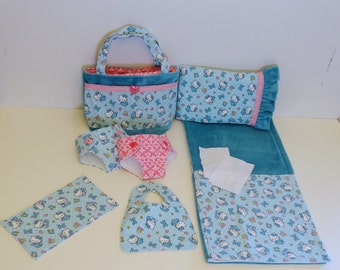 Bitty Baby Basics in Hello Kitty Baby- Diaper Bag and Diapers with Blanket and Pillow