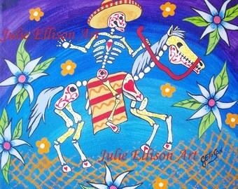 """Day Of The Dead """"Horse and Rider"""" Instant Digital Download Printable Art jpeg Print Mexican Folk Artist J Ellison"""