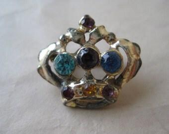 Crown Rhinestone Brooch Red Purple Blue Gold Vintage Pin