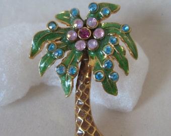 Palm Tree Flower Lapel Pin Blue Pink Green Rhinestone Tie Tack Vintage Brooch Aurora