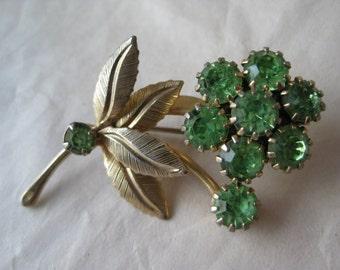 Green Flower Brooch Gold Rhinestone Pin Vintage