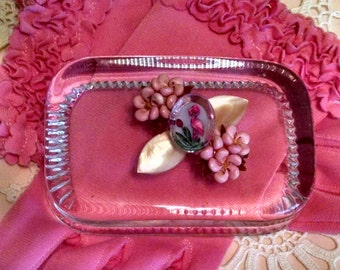Vintage Paperweight Flamingo & Shells