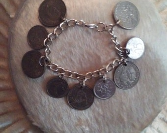 Dangle Foreign Coin Charm Bracelet