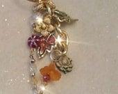 FALL FUN Purse Charm, Zipper Pull, key chain, Back pack gem, rearview mirror jewel