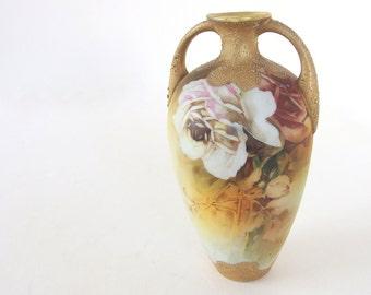 Signed Vintage Gold Hand Painted Vase - Roses